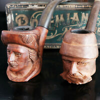 Lot of 4 Vintage Carved and Leather Estate Briar Tobacco Pipes With 8 Pipe Stand