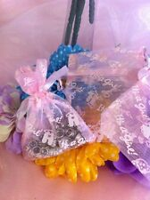"""Lot of 60 Light Pink Romper Baby Girl 3""""X4"""" Organza Drawstring Favor Bags Or-S"""