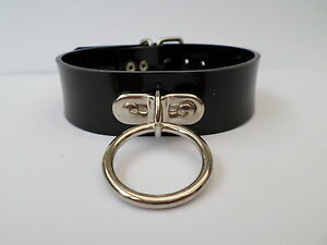 "glossy  black pvc fetish bondage slave collar 30mm ring  14-17"" neck 30mm wide"
