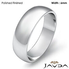 Men Wedding Band Dome High Polish Solid Ring 6mm 18k Gold White 6.8g Size 9-9.75
