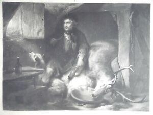 Edwin Landseer Highland The Poachers Bothy. 1831 Rare Proof Mezzotint by Fox.