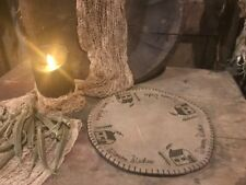 Primitive Winter Candle Mat Warm Wishes Reversible Cabin Farmhouse Christmas