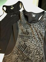 Lot of 2 Womens Active Athletic Sleeveless Top Tank Tek & Tail Size Large Black