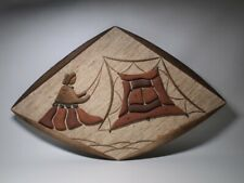 Paul Hallowell Signed Art Fiber And Wood Wall Hanging Oriental Women