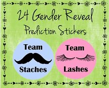 "24 Gender Reveal Baby Shower Labels - Team Staches / Team Lashes (#8) - 2"" Round"