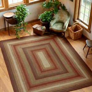 HOMESPICE BRAIDED JUTE FARMHOUSE COUNTRY RUSTIC RUGS ~ GINGERBREAD BROWN RED