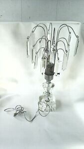 VTG CLEAR PRISM GLASS BLADES DANGLE TABLE LAMP MOD UNIQUE NEW OLD STOC NICE SHAP