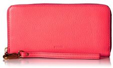 Fossil Emma Large Zip Wallet Neon Coral