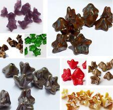 9 (mm) FLOWER TRUMPET BELL CZECH GLASS BEADS - VARIOUS COLOURS - PACKS OF 30