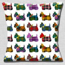Tartan Scottie Dogs Cushion Cover 16x16 inch 40cm Multicolour Scotty Dogs White