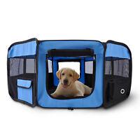 Fabric Pet Puppy Dog Cat Rabbit Pig  Playpen Play Pen Run Blue Black 37x37x95cm
