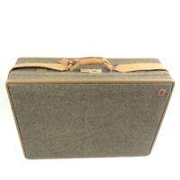 """Vintage Hartmann Luggage Brown Tweed Suitcase Belting Leather Trim 25"""" Woodbox"""