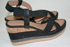 """Yellow Box Mimosa Black Canvas Women's Open Toe Strappy 7 M  Wedge 3"""" Heel Shoes"""