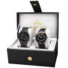 August Steiner AS8199BK Men's Dual Time Bracelet/Leather Strap Watch Set