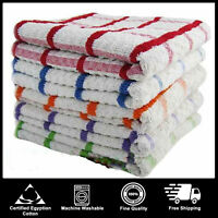 KITCHEN EXTRA LARGE JUMBO TERRY MULTI TEA TOWELS DISH CHECK 100% COTTON PACKS