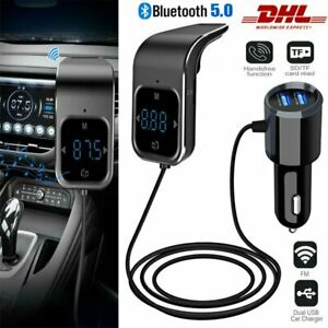 Auto Car Bluetooth 5.0 FM Transmitter KFZ MP3 Adapter mit Dual USB Ladegerät