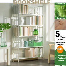 5 Tier Open Bookshelf Storage Cabinet Rack Bamboo Bookcase Display Home Decor