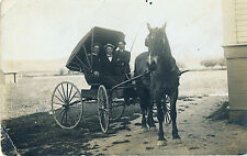"""c1910 Rrpc """"One Horse Open Shay?"""" Horse People Odd Carriage Cart"""