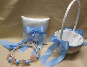 Wedding Accessories White Blue Pink Blush Flower Girl Basket Halo Ring Pillow