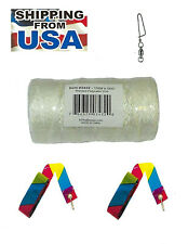 Kite Line Braided Polyester 500-feet + 150-lb. test + 2-Tails + Metal Swivel
