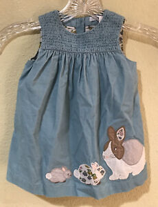 NWT BABY BODEN sZ 3-6 mts SOFT GREEN POOL BUNNY EASTER DRESS SOFT Corduroy