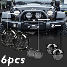 "For Jeep Wrangler JK 7'' LED Headlight Amber Signal Turn Light 4"" Fog Lamp Kit"