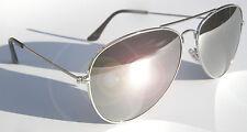 AVIATOR MIRROR SUNGLASSES CHROME SILVER METAL UV400 GLASS LENS BEST TOP QUALITY