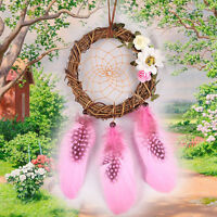 Pink GIRLS Handmade Feather beads Dream Catcher Dreamcatcher Wall Hanging Decor