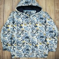 Men's Ecko Unltd Vintage Hip Hop Zipper Warm Hoodie Graffiti Print Sweater Large