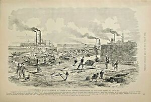 St. Louis, MO. Constructing Floating Mortar Batteries Vintage 1895 Antique Print