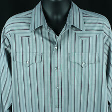 Vintage Panhandle Slim Mens 17.5 35 XL Western Snap Shirt Rockabilly USA Striped