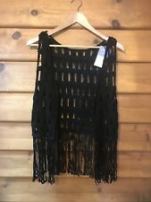 PEARL & HONEY CROCHETED VEST - BLACK - SIZE M