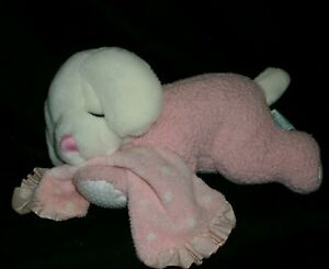 """10"""" RUSS BERRIE SWEET DREAMS BABY PUPPY DOG RATTLE STUFFED ANIMAL PLUSH TOY PINK"""