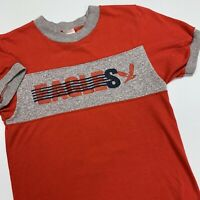 Vintage 80s Champion Ringer T Shirt Adult XS Red Gray Eagles USA Rare