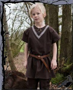 Mittelalter Kinder Wikinger Tunika kurzarm mit Borde - Ailrik  -