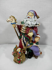 Santa Ready For His Big Night of Deliveries w/ Young Boy - Resin Figure - OP $45