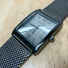 Geoffrey Beene Men Titan-Black Rectangle Mesh Analog Quartz Watch Hours~New Batt