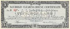 San Diego Clearing House Certificate $5 Series B 3.6.1933  Uncirculated
