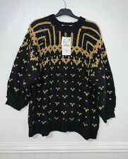 ZARA OVERSIZED LIMITED EDITION JACQUARD EMBROIDERED MOTIFS SWEATER SIZE S RRP£80