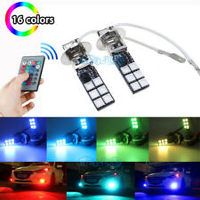 2Pcs H3 5050 12SMD RGB Fog Light Bulbs Car Lamp Blue Pink Red Green Ice Blue