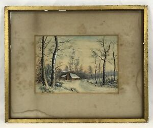 Antique Watercolor Painting Winter Landscape Cottage Trees Original Frame Signed