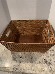 Rectangle Woven Nesting Wicker Rattan Tray/ Basket with  Handles Wood Base