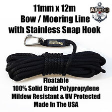 Docking Braid Dock Rope 11mm x 12.1m / 40ft Polyproplylene Bow Line BLACK!