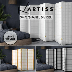 Artiss 3/4/6/8 Panel Room Divider Privacy Screen Wooden Divider Timber White