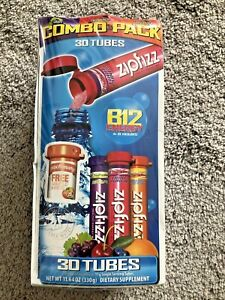 Zipfizz Drink Mix Combo Pack 30 Ct. Tubes Orange Soda Grape Fruit Punch Exp 9/22