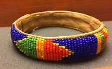 Bright Multi-color Tribal? Handcrafted Beaded Leather Inside Bracelet