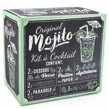 Mojito Cóctel Maker Kit Conjunto de Regalo 2 Vasos Muddler Mezclador Hazlo tú mismo paraguas pajas