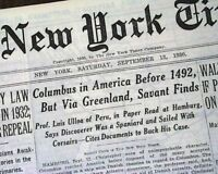 SIR JOHN FRANKLIN'S Lost Expedition & Christopher Columbus Sail ? 1930 Newspaper