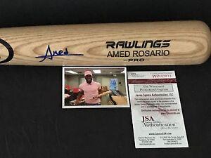 Amed Rosario Indians Mets Signed Engraved Bat JSA WITNESS COA Blonde A