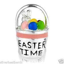 Pink Easter Time Basket Bunny & Eggs Sterling Silver Bracelet/Bangle Charm Bead